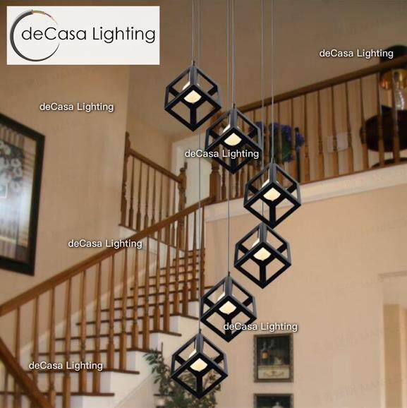 High Ceiling Staircase Lighting