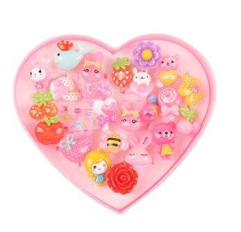 24pcs Kids Assorted Cute Resin Acrylic Cartoon Ring  With Box Girls Gift (Randomly Pick)
