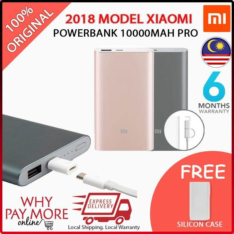 [NEW YEAR FREE CASE][READY STOCK] Xiaomi Mi Powerbank 10000mAh Pro 10000 Slim Type C USB Fast Charging Power Bank Miband Apple + Silicon Case