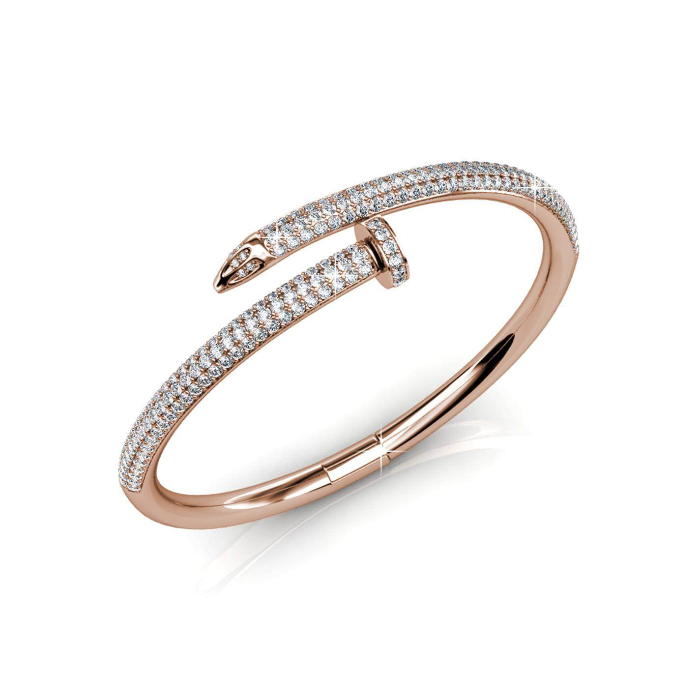 Her Jewellery Nail Bangle (White / Rose Gold) embellished with Crystals from Swarovski