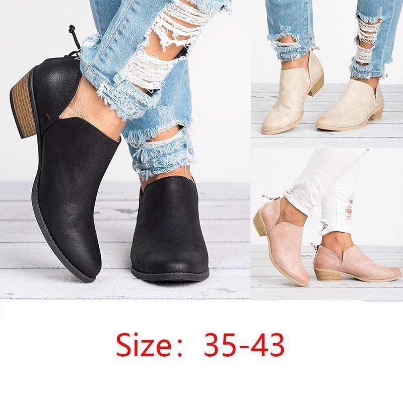 Phụ nữ Thời Trang Thu Đông Da PU Cổ Chân Giày Boot Casual Nữ Dây Kéo Sau Lưng Hồng Cut-out Thấp Chun Gót Tròn mũi Giày