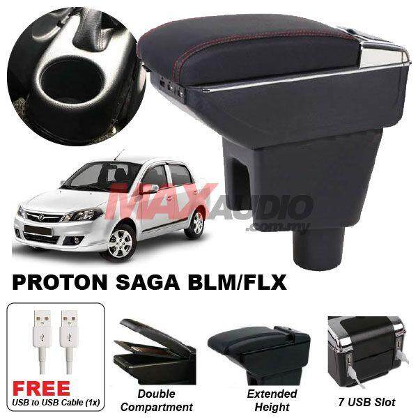 [FREE GIFT] PROTON SAGA BLM/SE/FL/FLX/SV Premium Quality Adjustable Black Leather With Red Stitch Arm Rest with USB Charger Extension & Cup Holder
