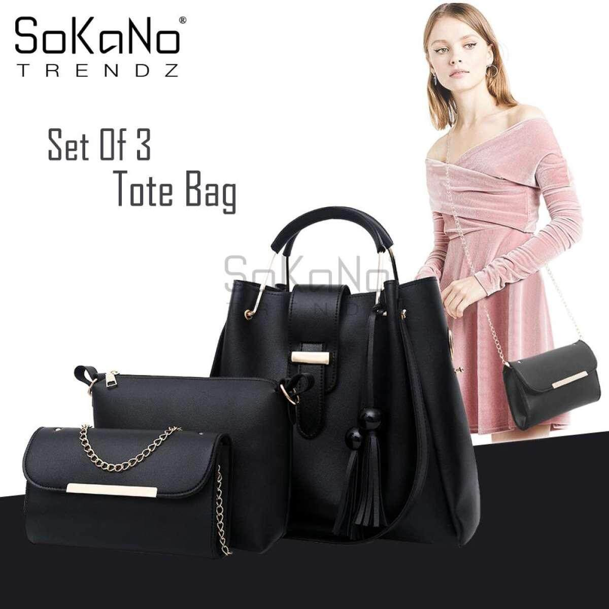 SoKaNo Trendz SKN841 Large Capacity European Designed Luxury Tote Bag (Set Of 3) Handbeg Wanita- Black