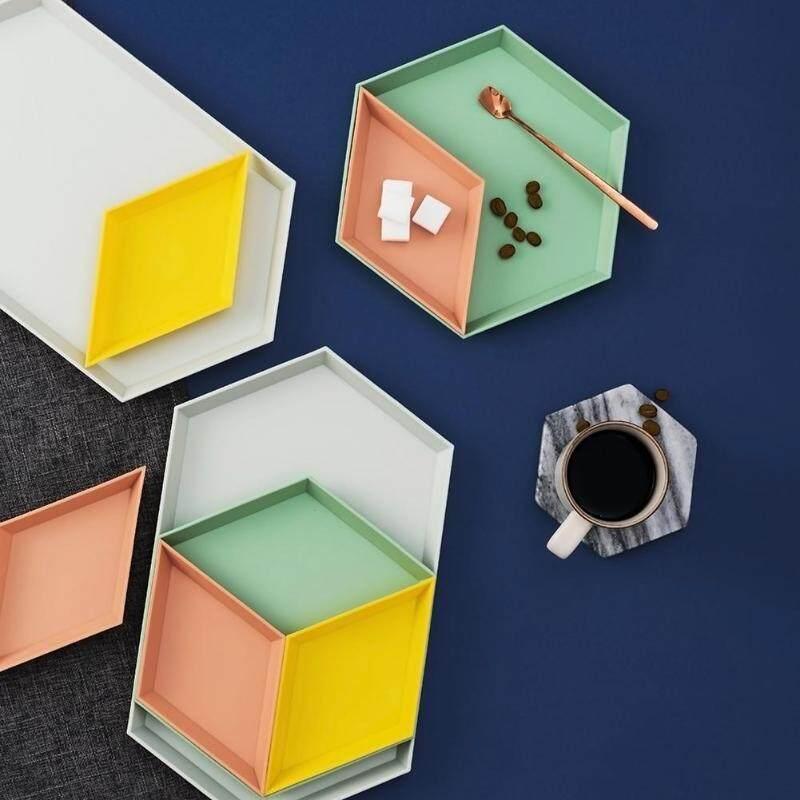 Yoholoo 4 Món Phù Hợp Với Sáng Tạo Hình Học Đơn Giản Màu Nhựa Có Thể Tháo Rời Khay Nhà Phòng Khách Bàn Đĩa Hoa Quả Trái Cây bát