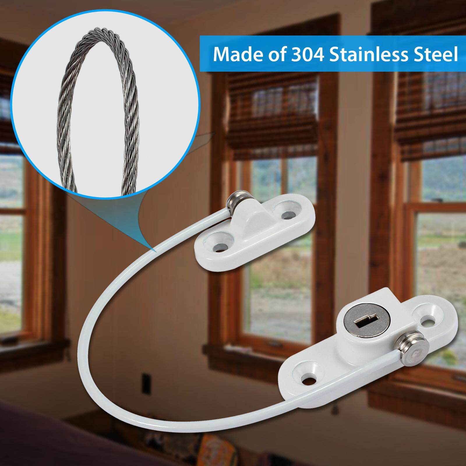 1 Pack Window Door Restrictor Locks Window Door Cable Restrictor Lock with Screws Keys Child Baby Safety Security Wire Catch for Home Public and Commercial Applications