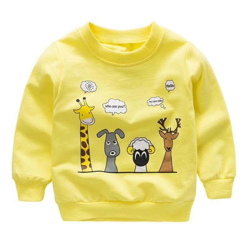 เด็กเด็กเด็ก grils แขนยาวการ์ตูนสัตว์พิมพ์เสื้อยืดสบายๆเสื้อ 1-6 ครั้ง