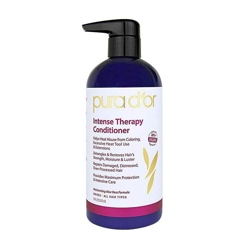 PURA D'OR Intense Therapy Conditioner Repairs Damaged, Distressed, Over-Processed Hair, Infused with Natural Ingredients, Sulfate Free, All Hair Types, Men and Women, 16 Fl Oz (Packaging May Vary)