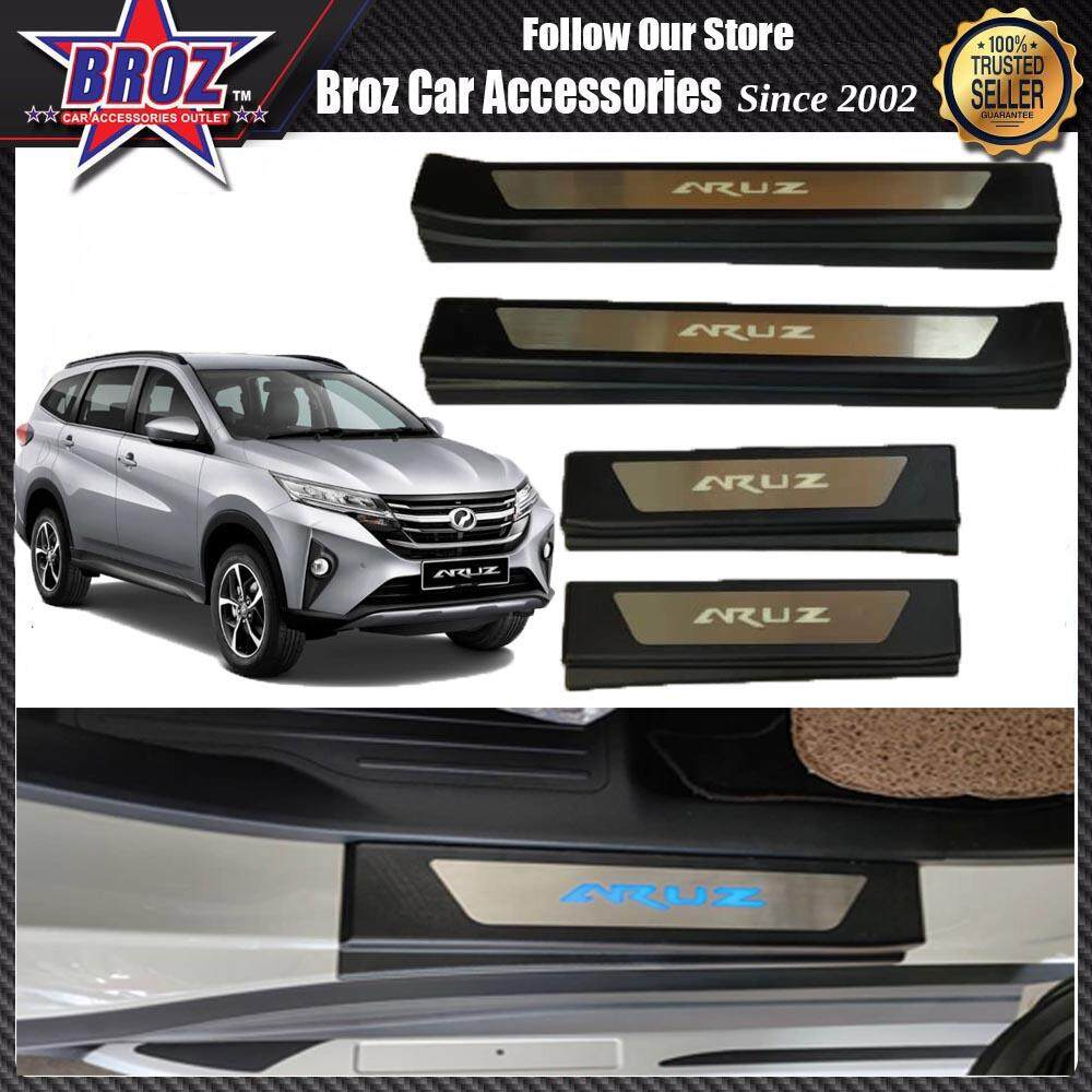 Broz Perodua Aruz Side Steel Plate/Door Side Step With Led Blue