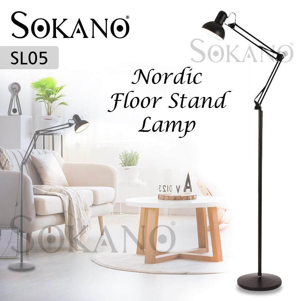 SOKANO SL05 Nordic Floor Stand Lamp Deco Lamp for Living Hall Bedroom Office Café Lampu Perhiasan (Free LED Bulb)