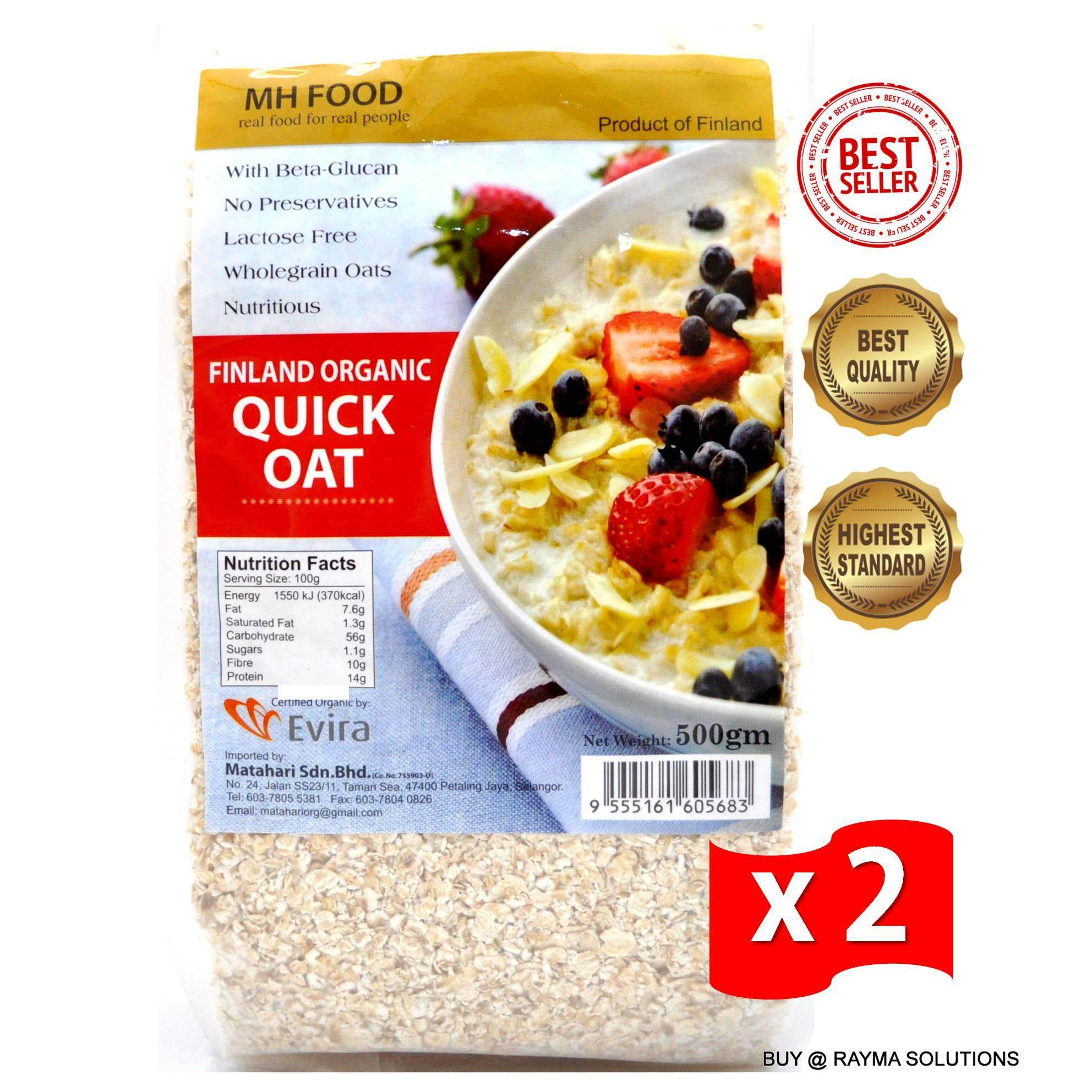 MH FOOD Finland Organic Quick Oats 500g (Twin Pack)