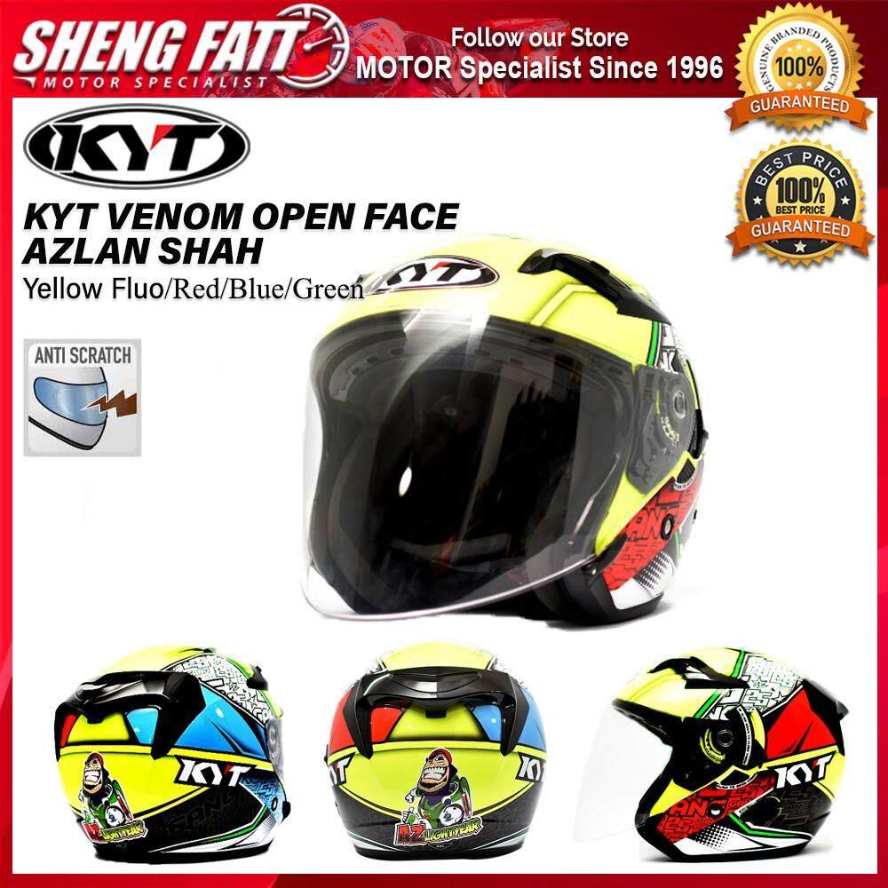 KYT VENOM OPEN FACE AZLAN SHAH Yellow Fluo/Red/Blue/Green Double Visor Motorcycle Helmet White