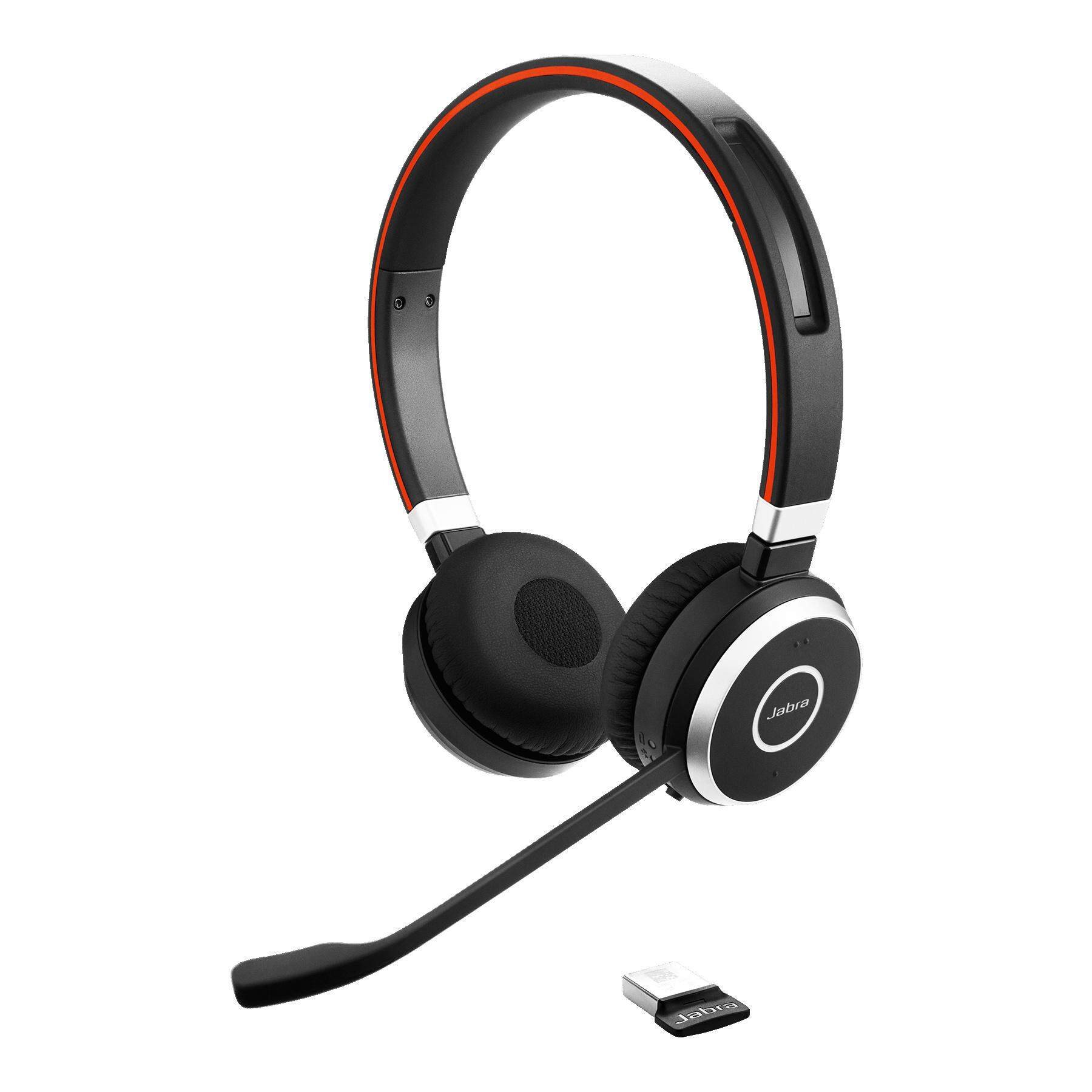 Jabra Evolve 65 MS Stereo Wireless Bluetooth Headset / Music Headphones Includes Charging Stand & Link 360