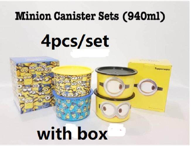 4pcs/set Tupperware minion one touch topper 940ml (4) with box