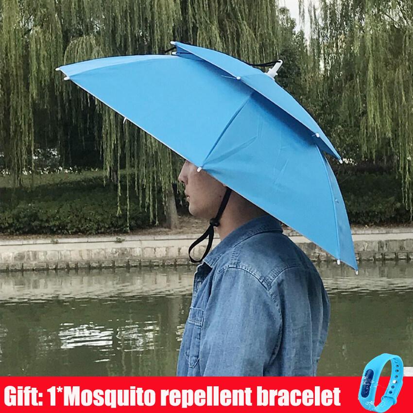 [ฟรีของขวัญ] bbala ฤดูร้อนกลางแจ้งมือฟรีเบาร่มหมวกกันน้ำยืดหยุ่นสำหรับตกปลาเกษตรกรสวนหมวกป้องกันแสงแดดพับ H eadwear ระบายอากาศร่มหมวก