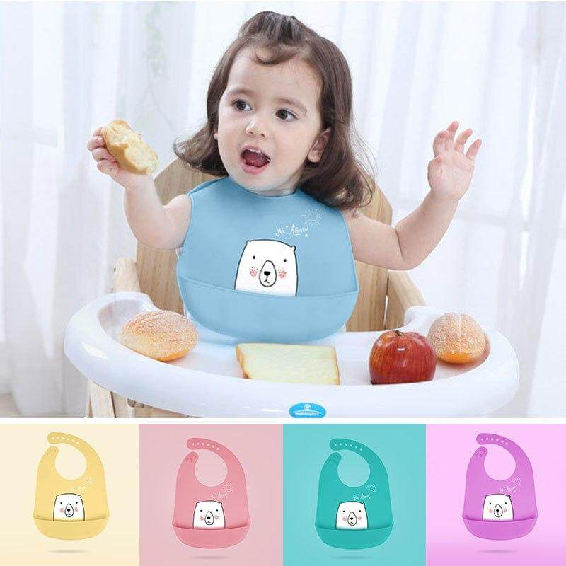 1PC Soft Silicone Baby Bib Adjustable Infant Toddler Feeding Neck Bib Waterproof