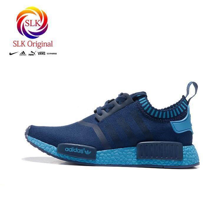 ยี่ห้อไหนดี  บุรีรัมย์ SLK เดิม★ใหม่รองเท้า Adidas NMD ผู้ชายรองเท้าลำลองรองเท้าวิ่งสีน้ำเงิน