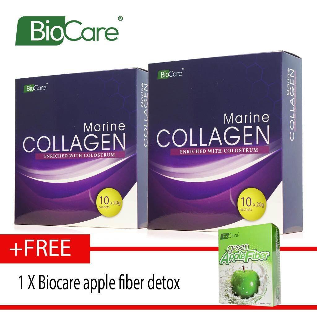 Biocare Marine Collagen X2 boxes Free apple fiber detox