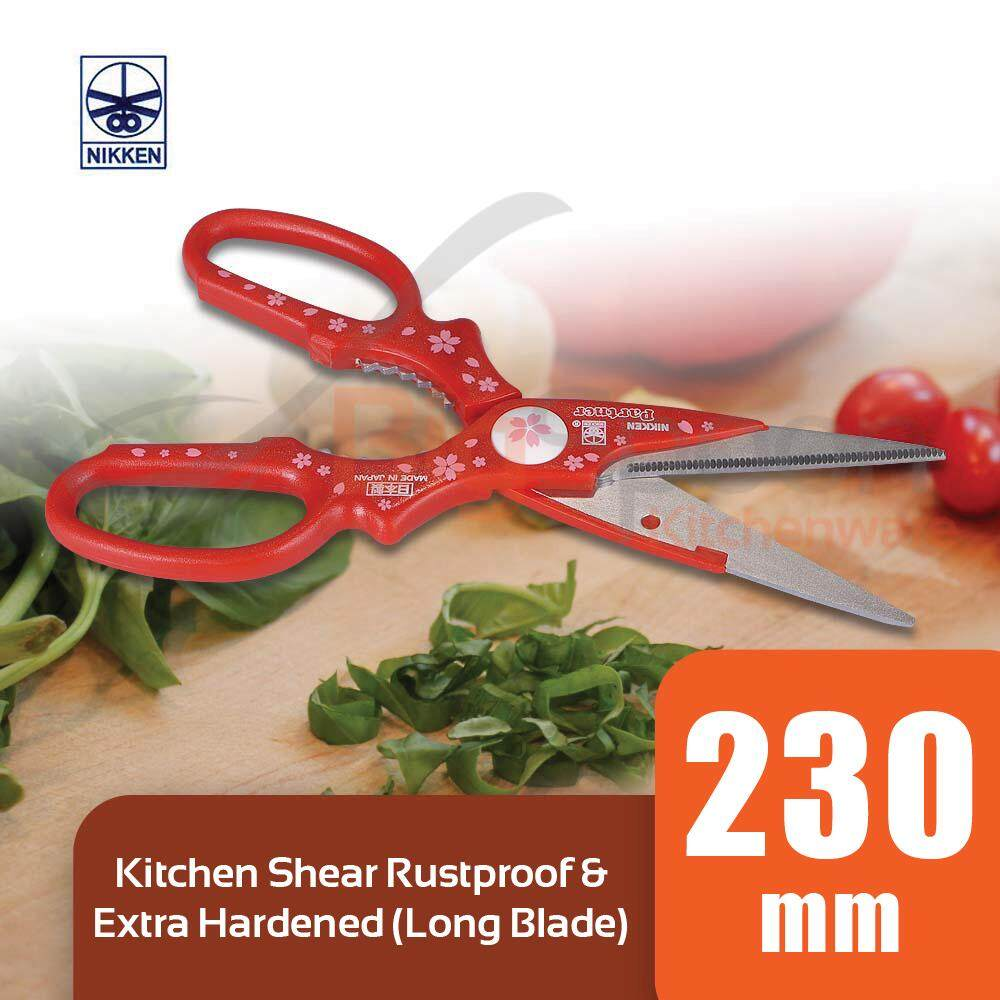 NIKKEN Kitchen Shear Long Blade Scissors Rustproof & Extra Hardened - 100% Original Japan