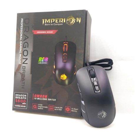 Imperion S600 Gaming Optical Mouse 4000DPI Programmable Buttons with On-board Memory Avago3050 Sensor RGB Dragon Breath Backlight Omron Switch