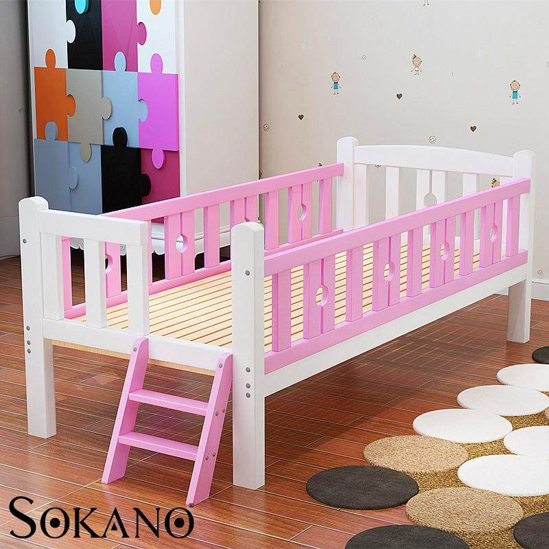 SOKANO HA318 Easel Wooden Baby Bed Baby Cot Attached to Parents Bed with Staircase