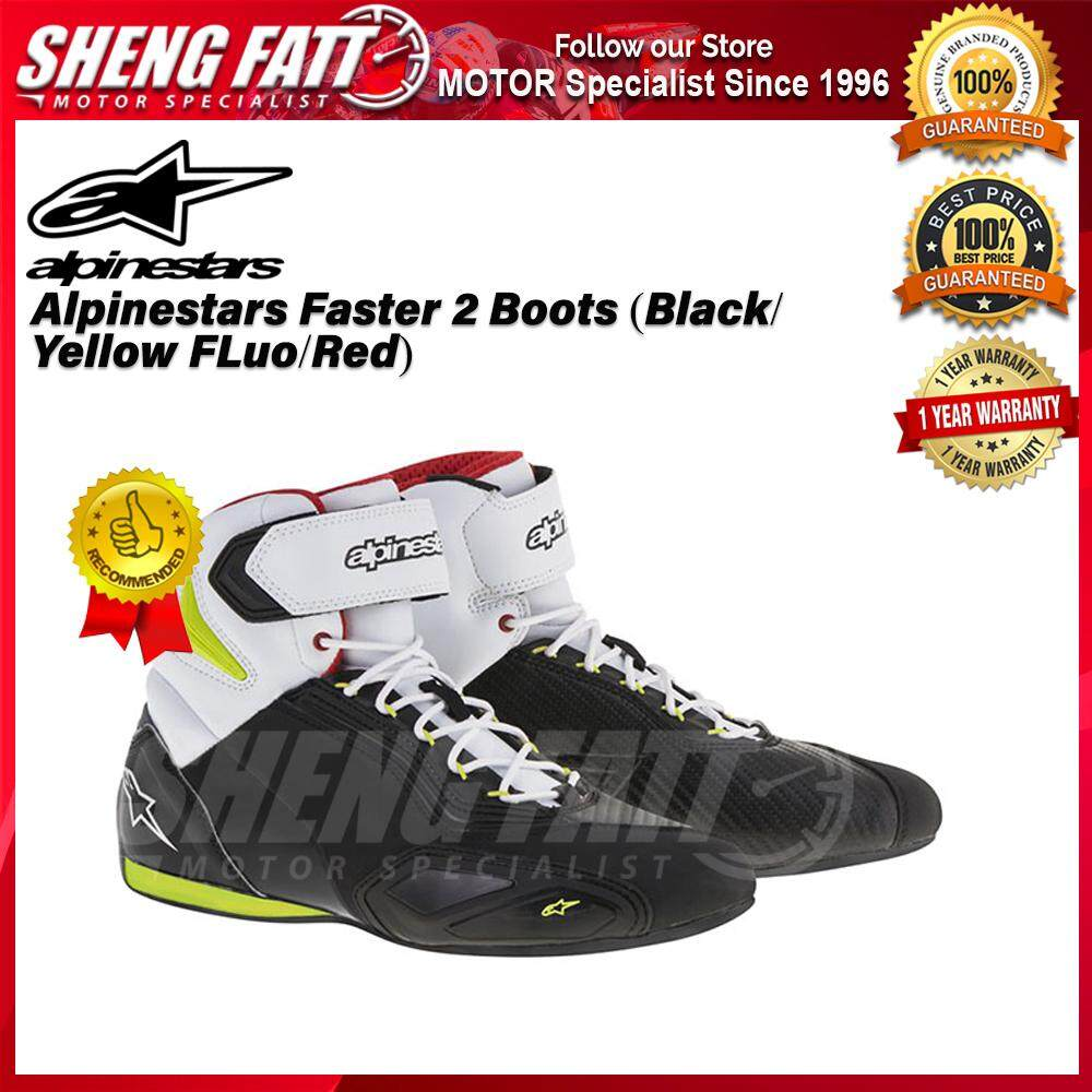 Alpinestars Faster 2 Boots (Black/ Yellow FLuo/Red) - ORIGINAL