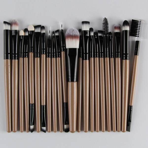 22 Pcs Nylon Eye Lip Makeup Brushes Set (Champagne Gold)