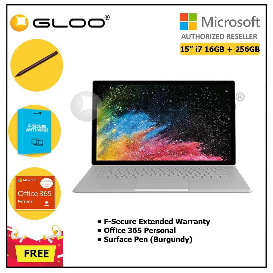 """Surface Book 2 15"""" Core i7/8GB RAM - 256GB [FREE F-Secure End Point Protection + Off 365 Personal + Microsoft Surface Pen Burgundy]"""