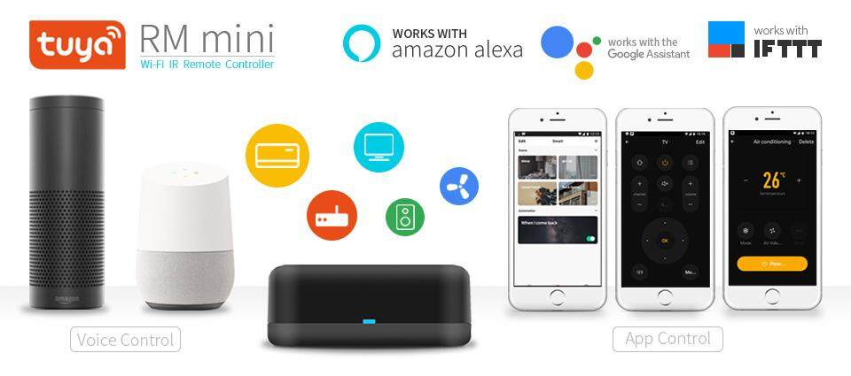 Tuya Rm mini smart home universal IR remote controller,Voice Control AC, TV  box via Alexa ,Google Home ,wi-fi remote by APP
