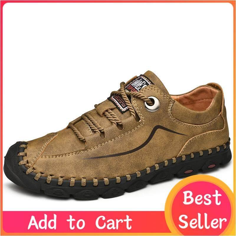Nam ngoài trời chuyên nghiệp handmade đi bộ đường dài giày chống đá đường may dưới giày thường mặc thoáng khí thời trang nam cao cấp của chống trượt đế mềm vàng đất lớn size 38-46