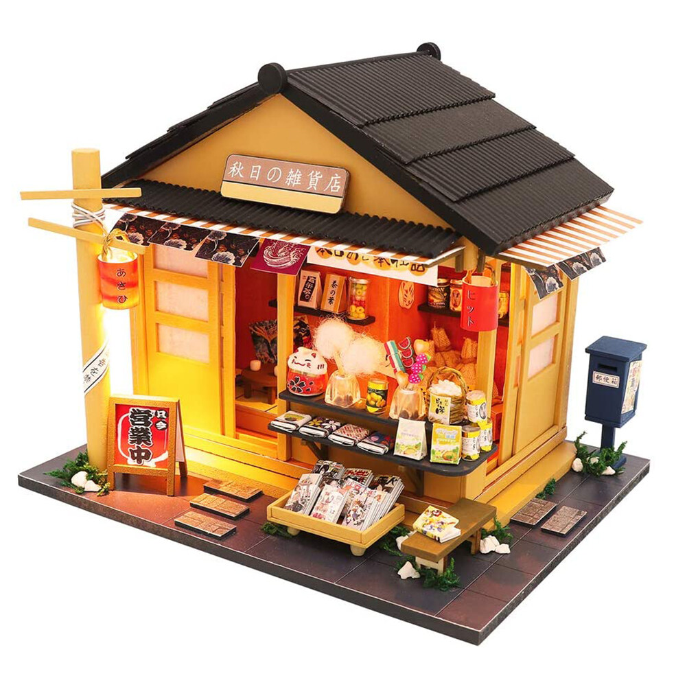 Hình ảnh Microgood Tự Lắp Ráp Thu Nhỏ LED Cửa Hàng Tạp Hóa Nhật Bản Nhà Búp Bê Mô Hình Em Bé Đồ Chơi