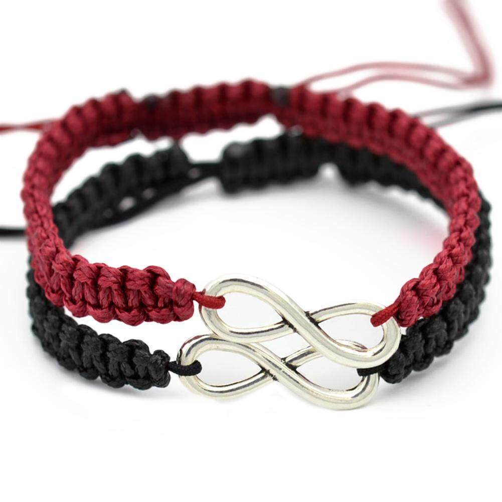 Warp Bracelet 2Pcs 8 Infinity Couple Braided Leather Luck Bracelet Handcrafted Stainless Steel Infinity Friendship Rope Bracelet Set Adjustable for Women Girl