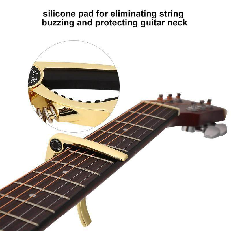 Guitars - One Handed Quick Change Metal Clamp Capo Gear for Acoustic Folk Guitar - [GOLD]