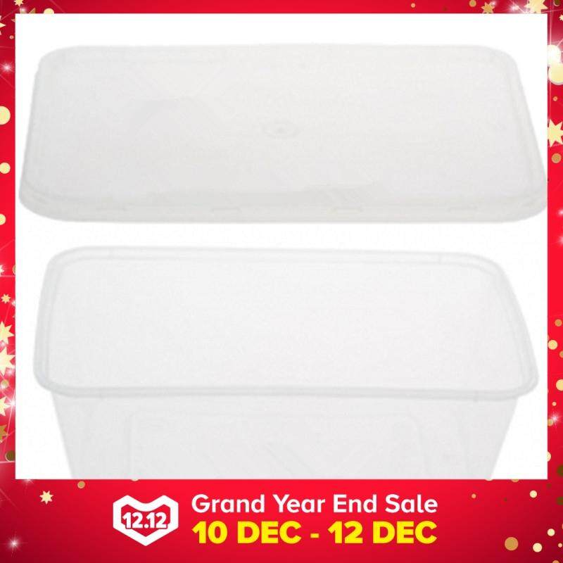 750ml PP Microwavable Rectangular Container With Lids Clear 10pcs
