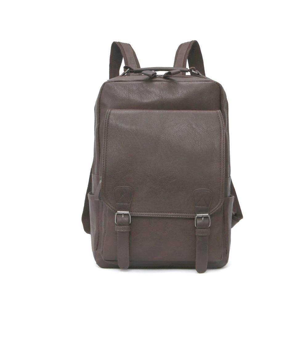Fashionable Casual Men PU Leather Travel Shoulder Backpack (Ready Stock)