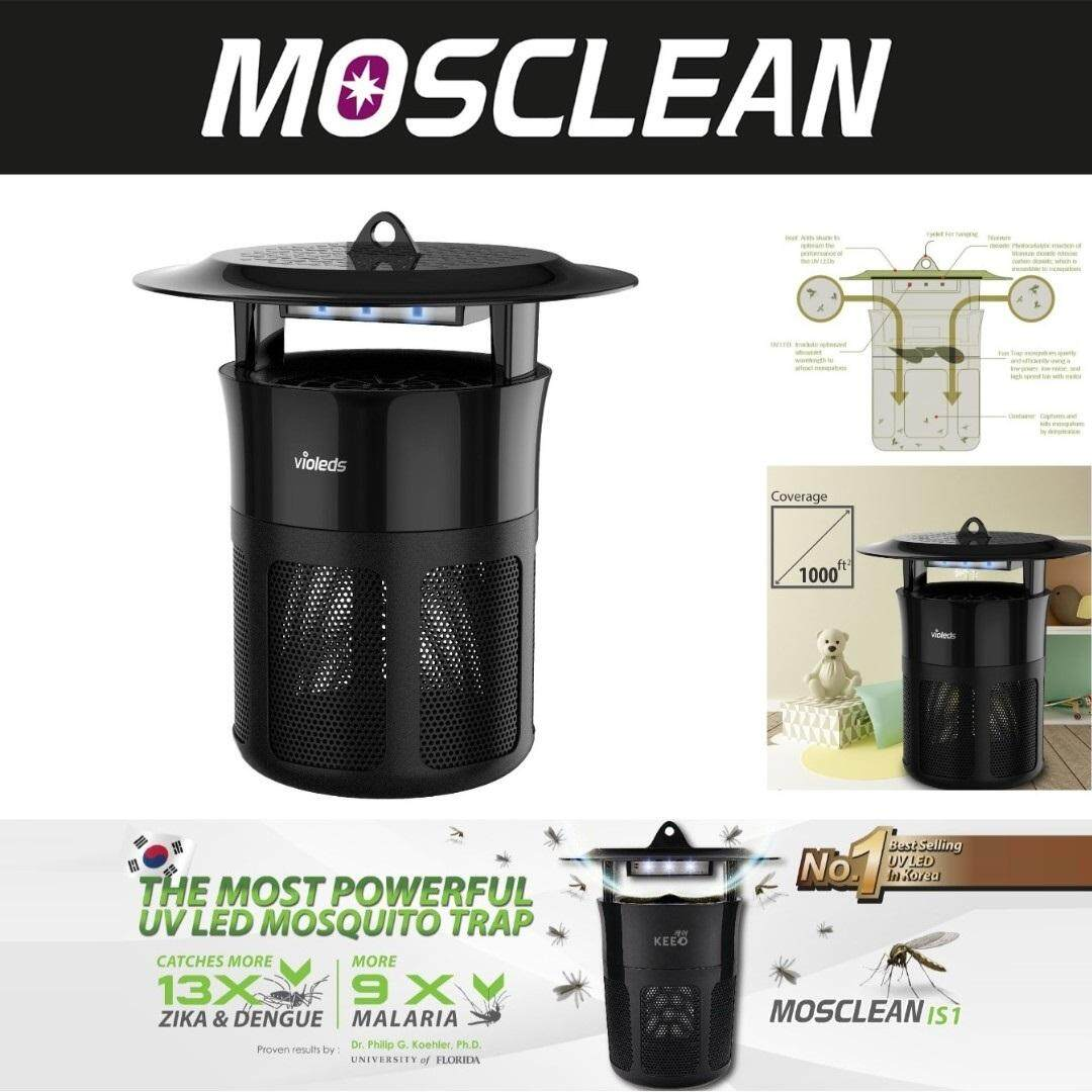 MOSCLEAN UV LED Mosquito Killer Insect Trap IS1 - Fruit Flies, House Flies and Small Bugs Catcher (Zika Targeted) No Zapper Sound, No Spray, No Repellent Lamp Required