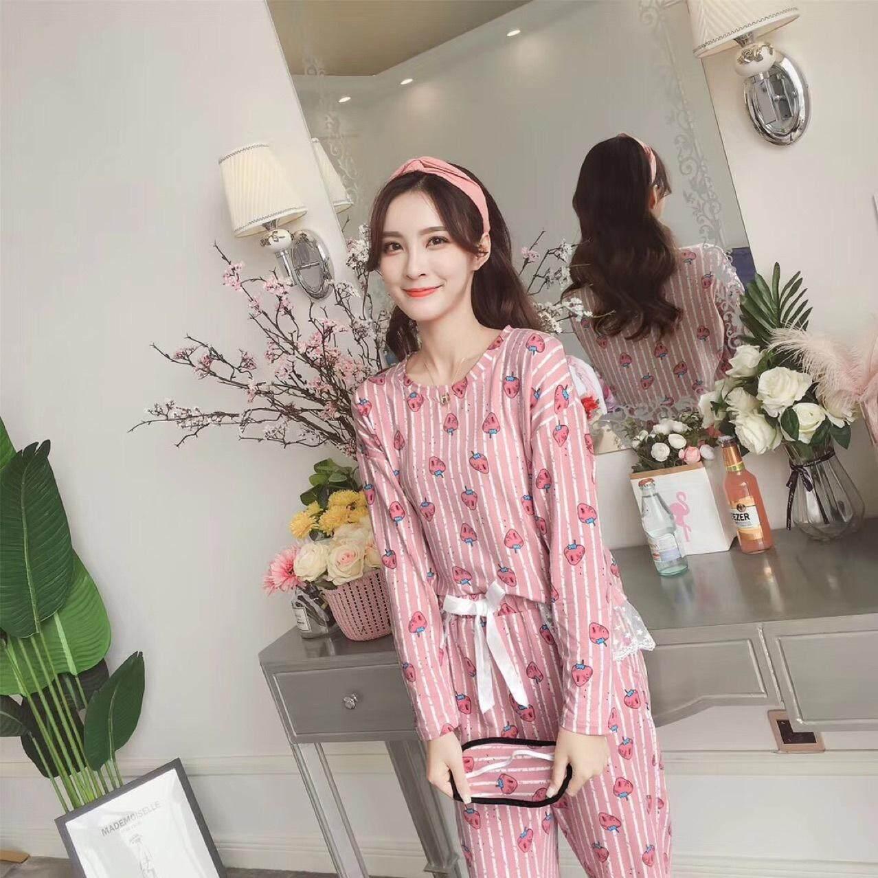 Bolster Store Plus Size Strawberry Ladies Women Loose Cotton Blouse Long Pants Set Comfortable Night Wear Pajamas