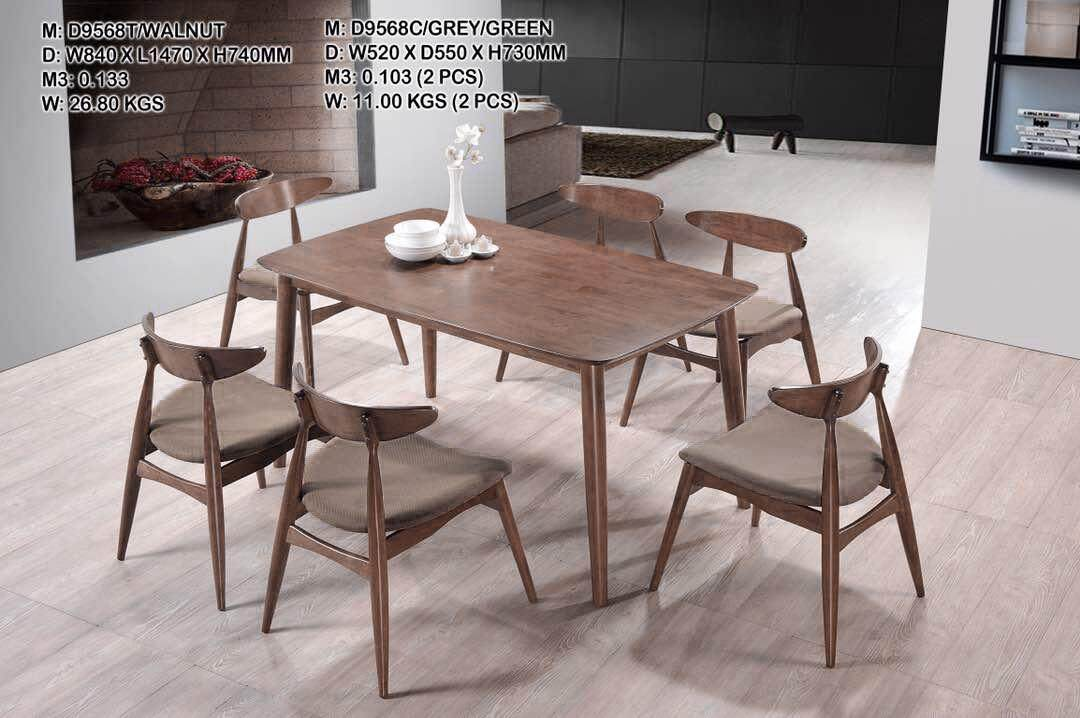Kitchen Z Solid Rubber Wood Dining Set Hmz Fn Dt 9568 Wn 150x85 1 Table 6 Cushion Chairs