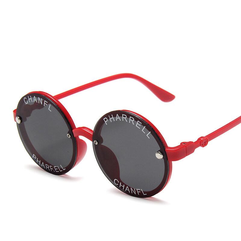 แว่นกันแดดเด็กสุดเท่สำหรับเด็กแว่นกันแดดทรงกลมพร้อมพิมพ์ตัวอักษรแว่นเด็ก