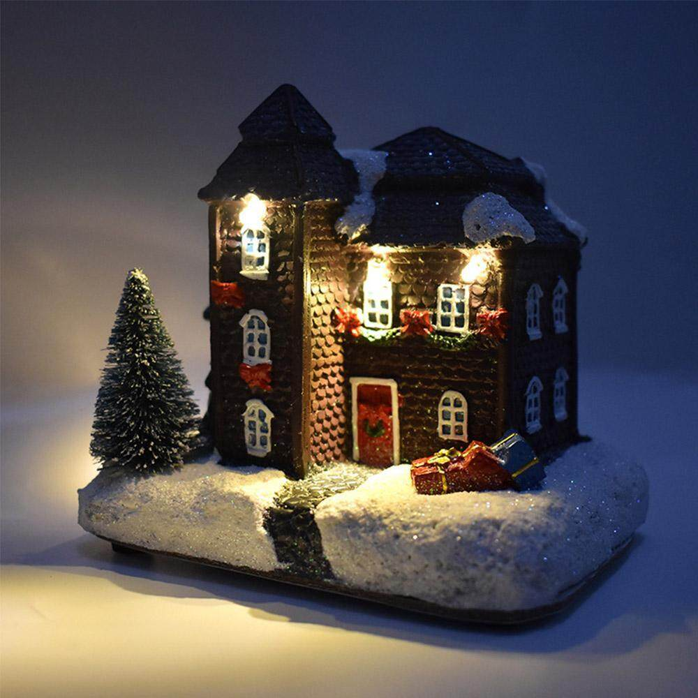 Withritty Resin Christmas Scene Village Houses Town With Warm White Led Light Battery Operate Christmas Ornamnet
