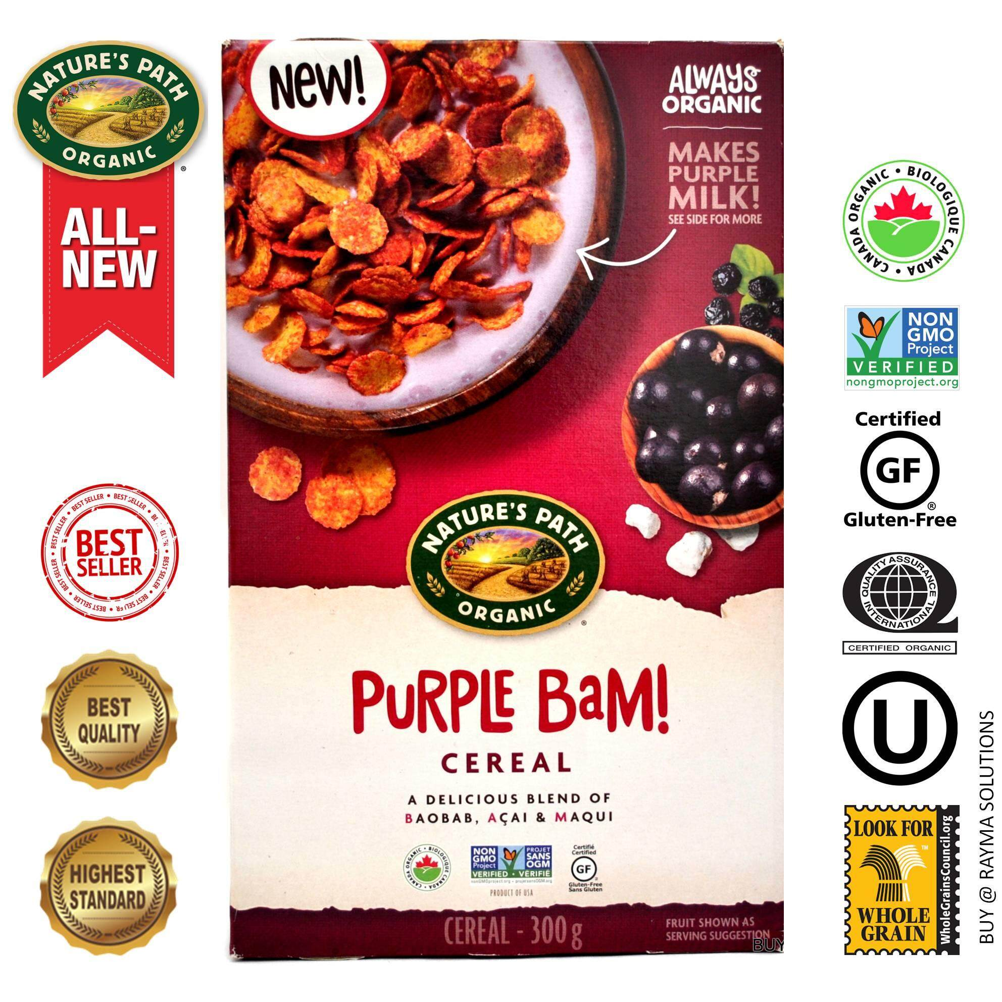 NATURE'S PATH ORGANIC Purple Bam (Acai) Cereal, Gluten Free, 300g