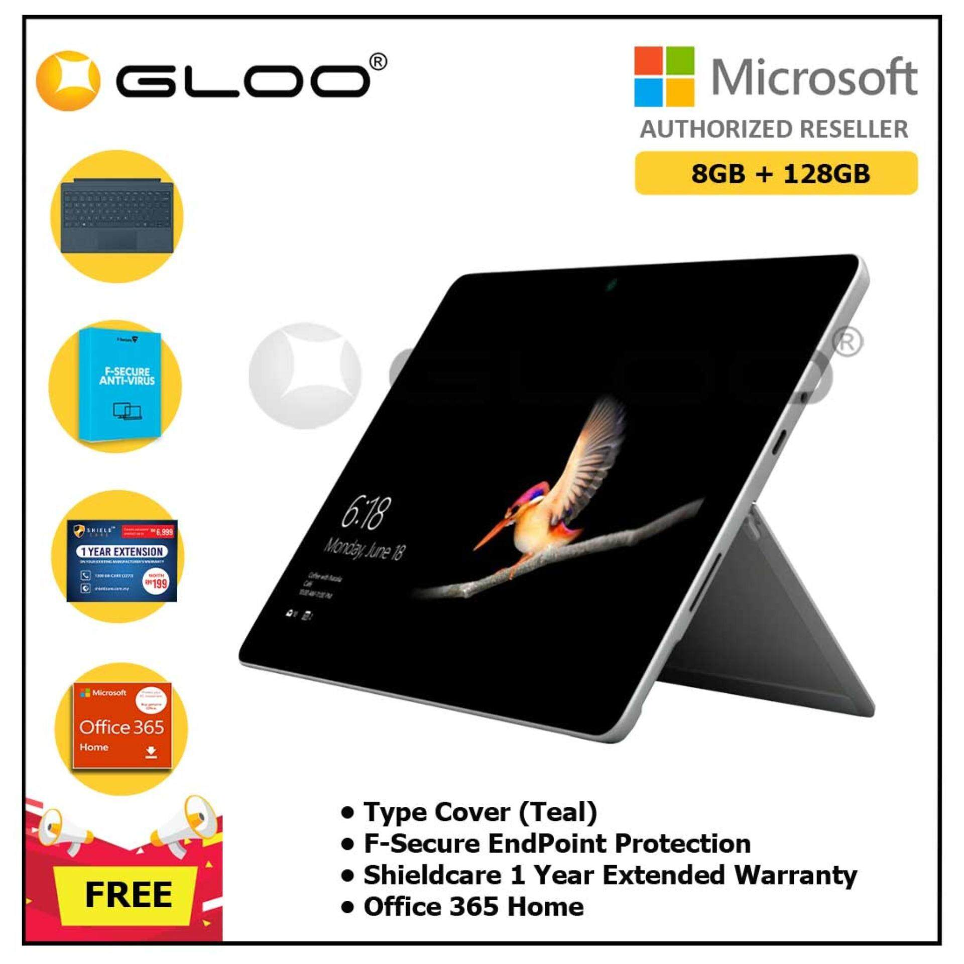 Surface Go Y/8GB 128GB + Surface Go Type Cover Teal + Shieldcare 1 Year Extended Warranty + F-Secure EndPoint Protection + Office 365 Home ESD