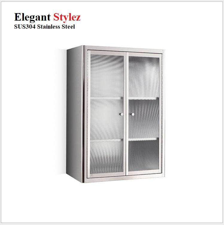 ELEGANT STYLEZ SUS304 STAINLESS STEEL BATHROOM / KITCHEN GLASS DOOR CABINET WALL MOUNTED SINGLE DOOR 650mm X 450mm X 200mm 7032C