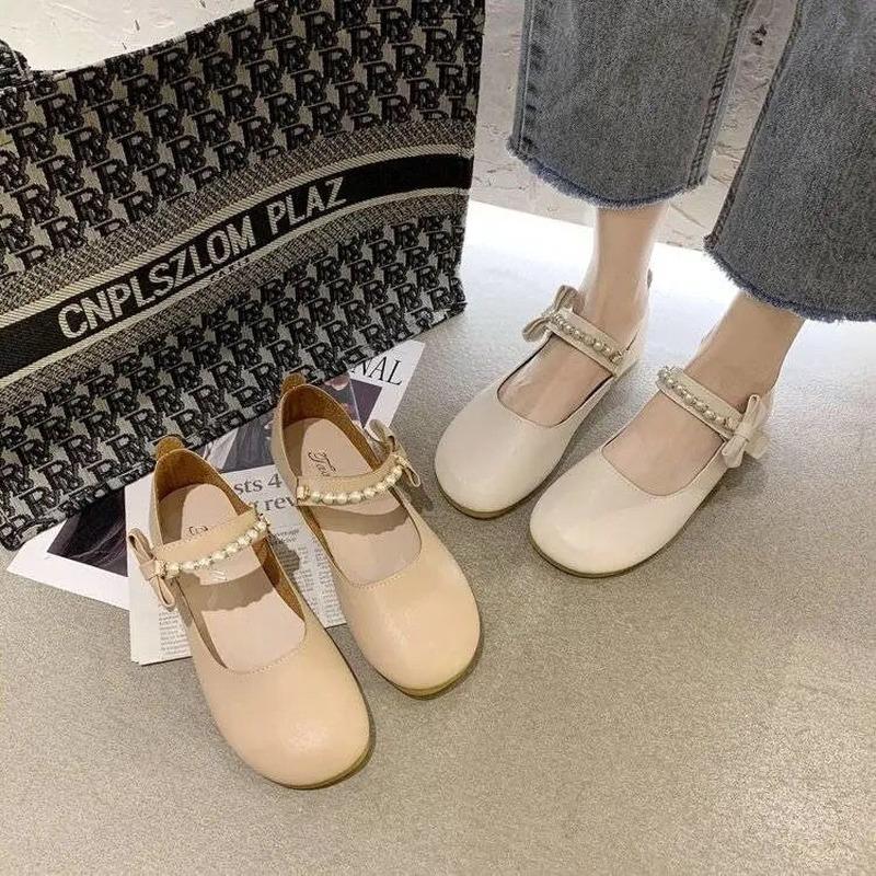 รองเท้าผู้หญิง2021ฤดูใบไม้ผลิและฤดูร้อนใหม่พื้นแบนทุกการแข่งขัน Mary Jane รองเท้าหนังขนาดเล็กรองเท้าเครื่องแบบ JK