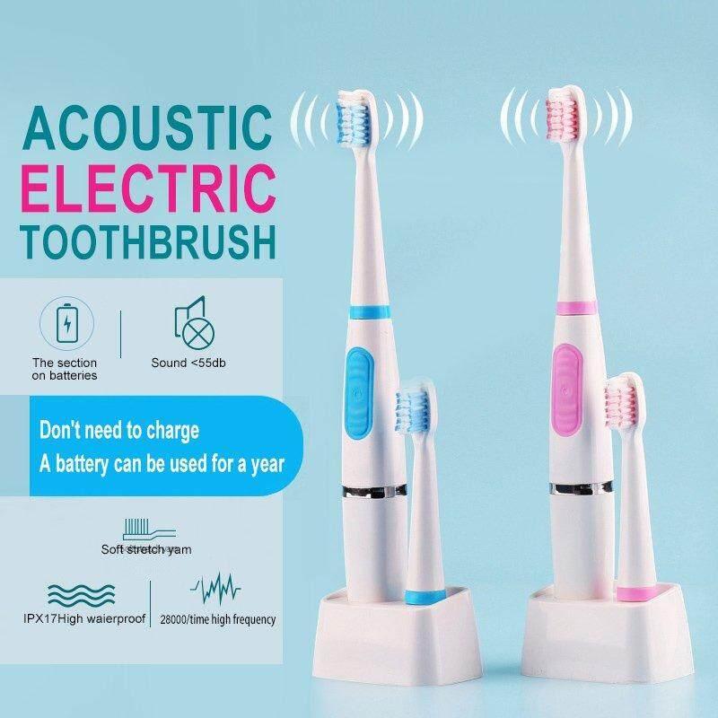 แปรงสีฟันไฟฟ้าเพื่อรอยยิ้มขาวสดใส สตูล Jiuch กันน้ำแปรงสีฟันไฟฟ้าพลังคลื่นเสียงไม่มีแปรงสีฟันชาร์ทได้แปรงสีฟันไฟฟ้า 1 หัวแปรงทันตกรรมที่มีประสิทธิภาพ Whitening Soft แปรงสีฟันอัตโนมัติ