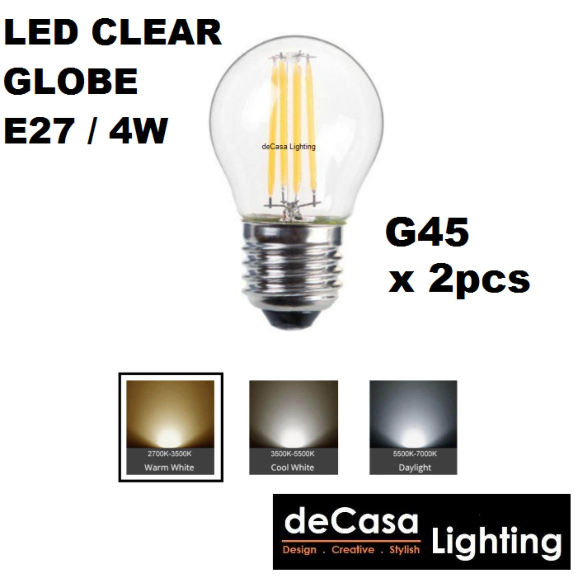 2pcs Leb Bulb E27 Clear Globe Bulb 4w Edison Ping Pong Bulb Daylight/WARM WHITE (LY-G45-4W)