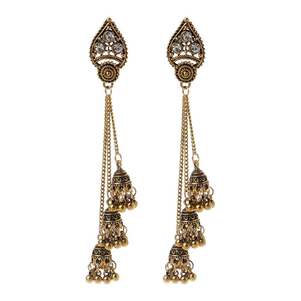 Tassel Jhumka Indian Ethnic Bollywood Long Chain Dangle Earrings