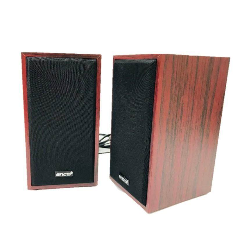 Enco Amuze A10 Speaker Series 2.0 Multimedia Satellite Speakers for Desktop Computer PC (Deep Wood Variant)