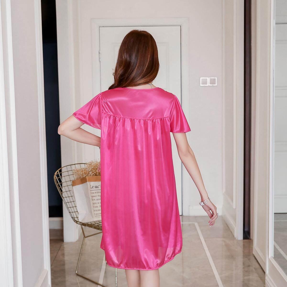 【LIMITED & READY 4 YOU】Wonderful Women Sexy Flower Design Dress Pyjamas With Premium Grade Quality Silk( (Pink/Blue/Grey/Rose Red- Free Size)