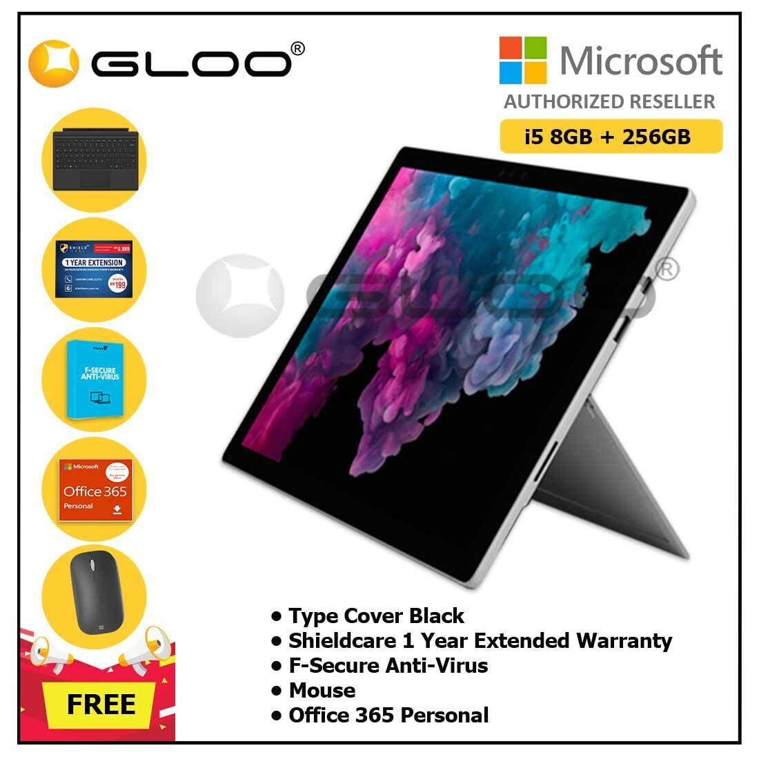 Microsoft Surface Pro 6 Core i5/8GB RAM - 256GB + Type Cover Black + Office 365 Personal (ESD) + Shieldcare 1 Year Extended Warranty + F-Secure EndPoint Protection + Mouse