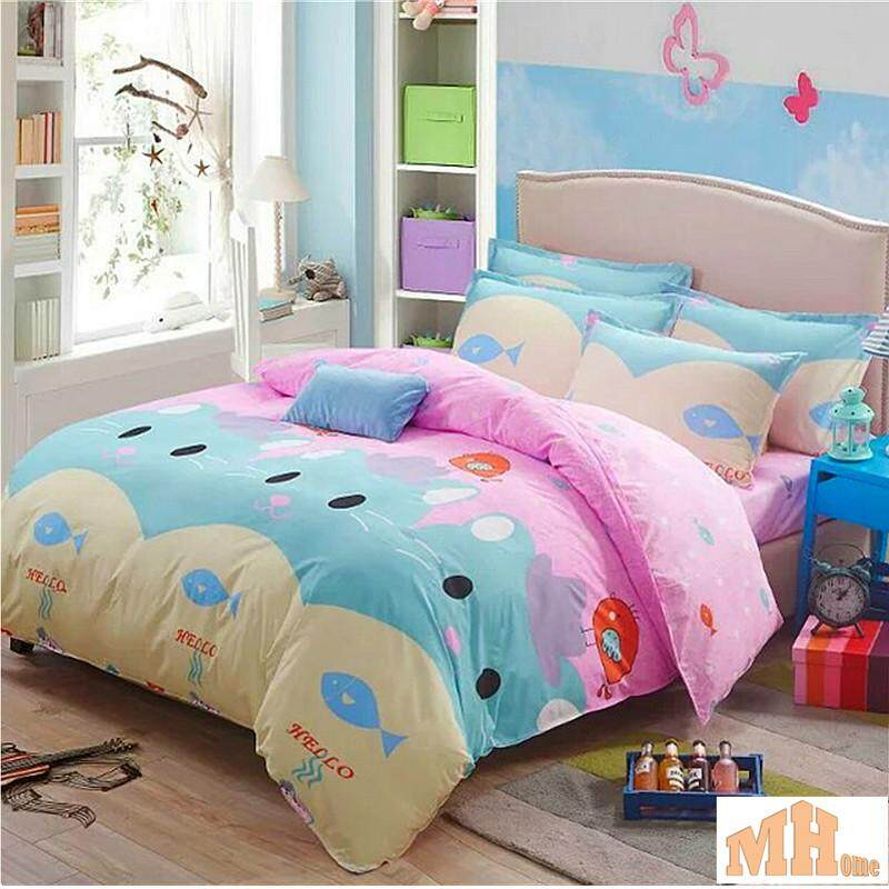 Maylee High Quality Fashion 4pcs Lovely Cat Queen Fitted Bedding Set (FM-LCAT)
